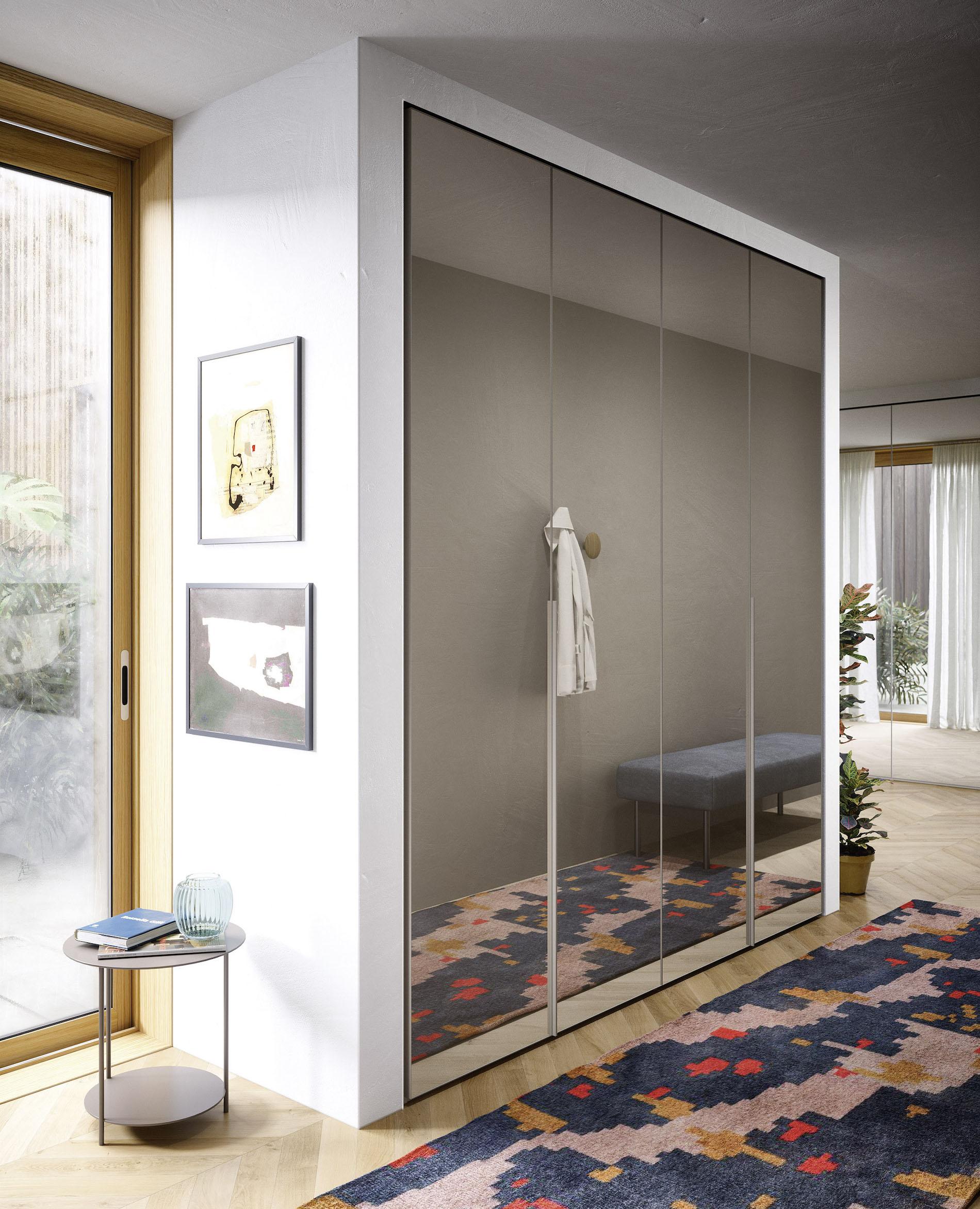 Armadio A Muro Laccato Bianco.Crystal Armadi Di Design Novamobili