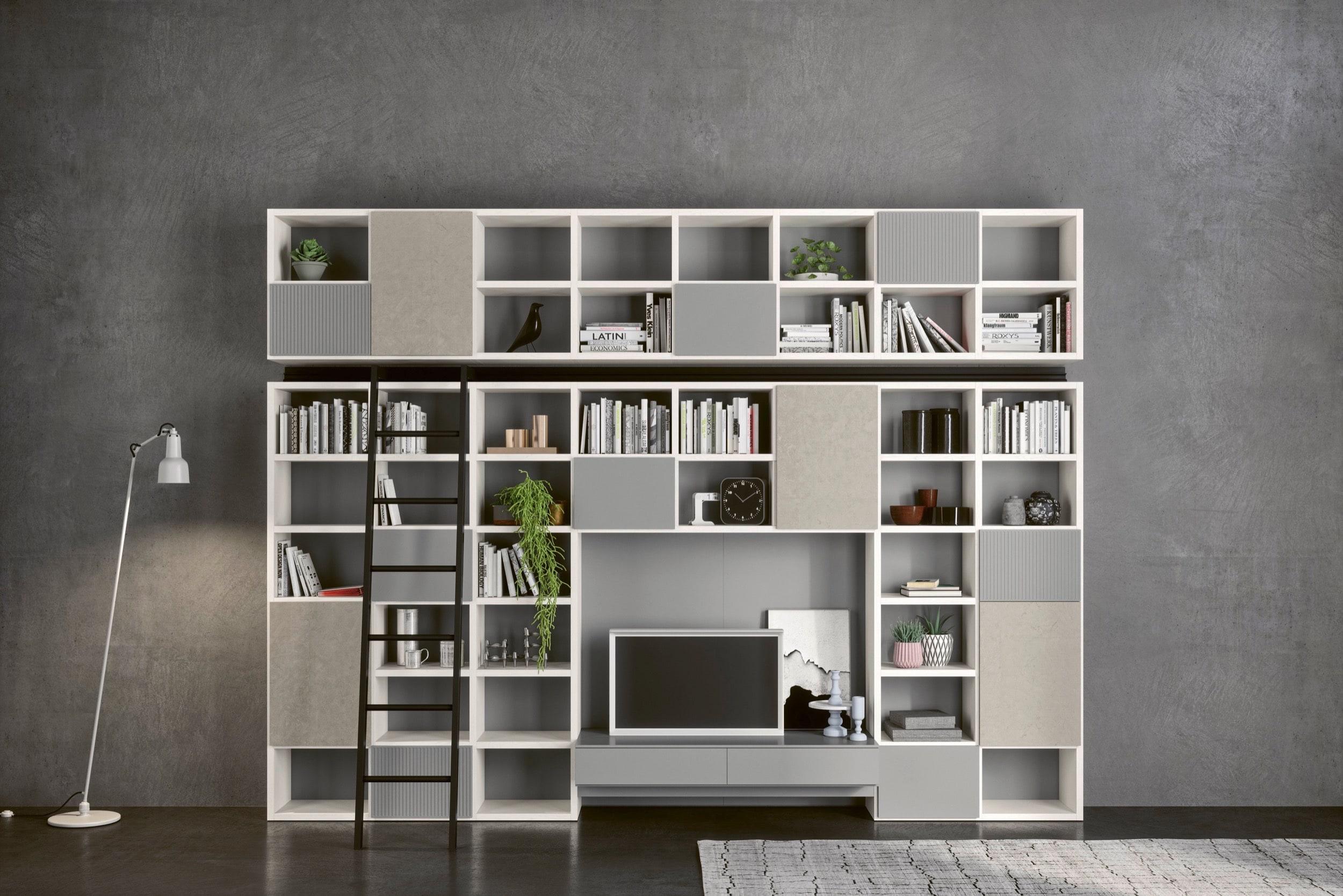 Libreria Bianca Con Ante In Vetro.Libreria Sospesa Di Design Wall 30 Novamobili